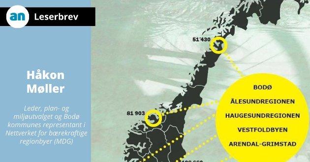– Ved å investere i grønn transport i Bodø kan regjeringen gi et viktig bidrag til bærekraftig vekst i Salten og Nordland, skriver Håkon Møller, leder i Bodø kommunes plan- og miljøutvalg.