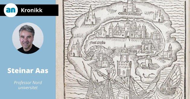 Til boka Utopia av Thomas More (1516) følgte også bildet av den utopiske byen.