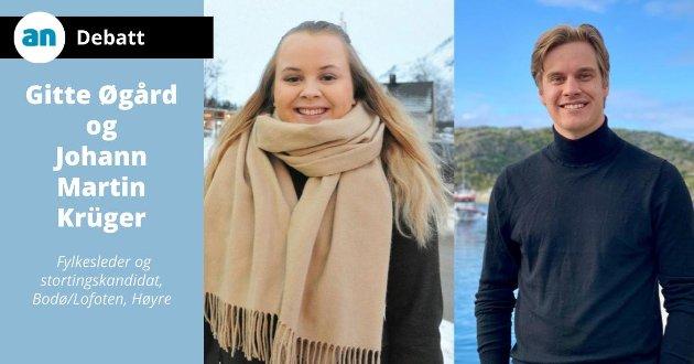 Gitte Øgård (22) er fylkesleder i Nordland Unge Høyre og Johann Martin Krüger (22), Unge Høyres stortingskandidat.