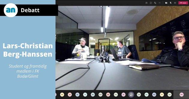 Skjermdump fra det digitale årsmøtet i Glimt forrige uke. Styreleder Inge Henning Andersen til høyre og daglig leder Frode Thomassen til venstre.