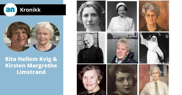 Øverst fra venstre: Louise Engen, Helga Vatten, Gunhild Støver, Anna Benoni, Sara Johannessen, Søster Ruth, Sigrid Bugge, Irma Birkenes Hunstad og Anna Sofie Jakhelln.