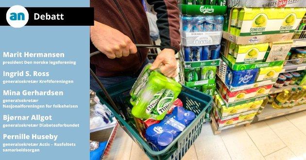 Høyre foreslår blant annet ytterligere reduksjon i alkoholavgiftene, utvidede salgstider for alkohol i butikk og på Vinmonopolet, sterkøl i butikk, tillate drikking på offentlige steder, og å oppheve statlige begrensninger på skjenketid.