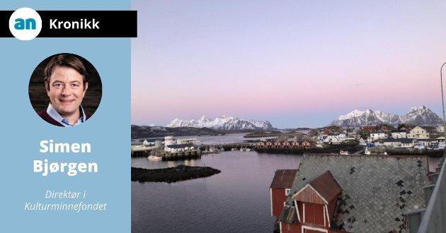 Svinøya i Svolvær, Lofoten. Ved Svinøya rorbuer bruker eier og ansatte tiden til restaurering, med økonomisk støtte fra Kulturminnefondet.