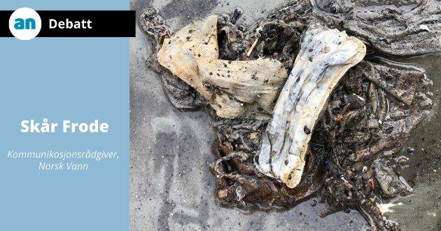 Slik så det ut da forskere fra SINTEF og NTNU nylig var ute i Trondheimsfjorden for å samle prøver av vann og marine arter. De fikk store mengder våtservietter og kvinnelige hygieneprodukter i trålen. Det er grunn til å tro at det gjelder i mange elver, sjøer og fjorder landet over.