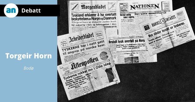 Oslo 9. april 1940. Den tyske angrepet / invasjonen i Norge. Forsiden av Oslo-avisene.