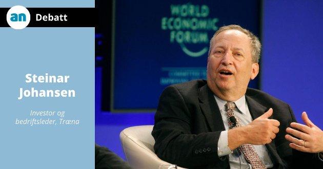 Tidligere finansminister i USA, nå professor ved Harvard University, Larry Summers kritiserer den økonomiske politikken i USA.
