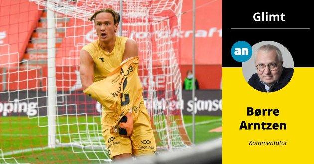 Eirik Botheim feiet etter scoringen mot Brann. Men hvorfor insistere på å få et gult kort?