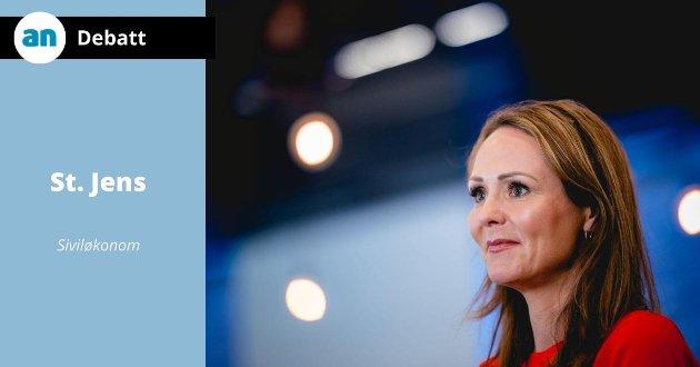 St. Jens svarer distriktsminister Linda Hofstad Helland.