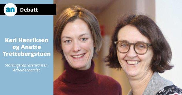 Kari Henriksen (th) og Anette Trettebergstuen, stortingsrepresentanter, Arbeiderpartiet.