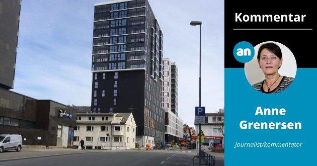 Dette møter dem som går gjennom Småbåthavna i Bodø og mot sentrum: Dystert, lukket, kaldt, avvisende og uvennlig. «The Storm Residence» er tegnet av Voll Arkitekter i Trondheim