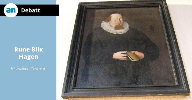 Presteportrettet som har gitt et ansikt til Petter Dass slik det henger inne i Melhus kirke. Trolig forestiller portrettet den lokale sognepresten Darre og ikke Herr Dass.