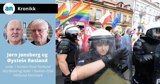 Fra august 2019. Politiet må beskytte deltakere i en pride-parade fra antihomo-aktivister i Polen.