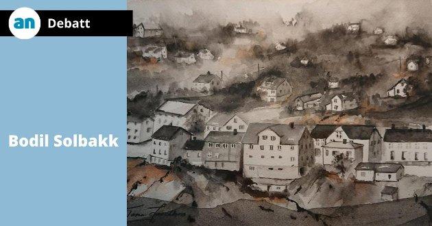Akvarell fra Finneidgata 11. juni av Tone Jordbru.