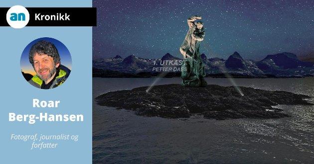 Dette er en første skisse av hvordan Petter Dass-skulpturen kan bli. Kunstneren, Frode Mikal Lillesund, skal bruke to år på å arbeide fram det endelige uttrykket. Skulpturen skal etter planen avdukes i 2024.