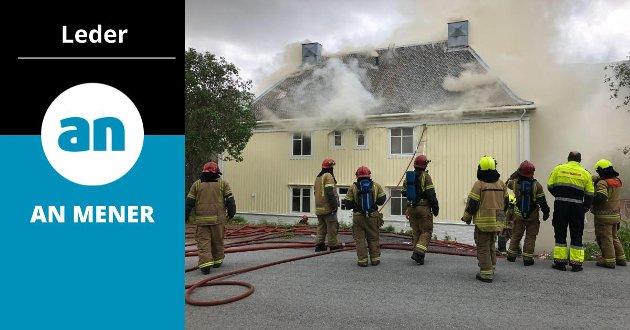 Denne boligen i Sulitjelma brant i 2018. Ingen befant seg i huset da brannen brøt ut.