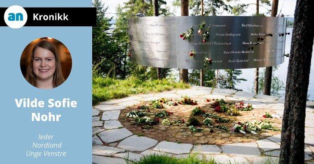 Navnene til de 69 som ble drept under terrorangrepet mot Utøya 22. juli 2011 er gravert inn i et minnesmerke på Øya. Ved fødselsdagene settes en blomst inn i navnet.