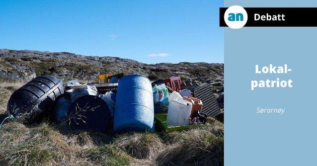 Som i Hamarøy (bildet) har det vært strandryddeaksjoner også i fjæra på Arnøyene. Men det er ikke der problemet ligger.