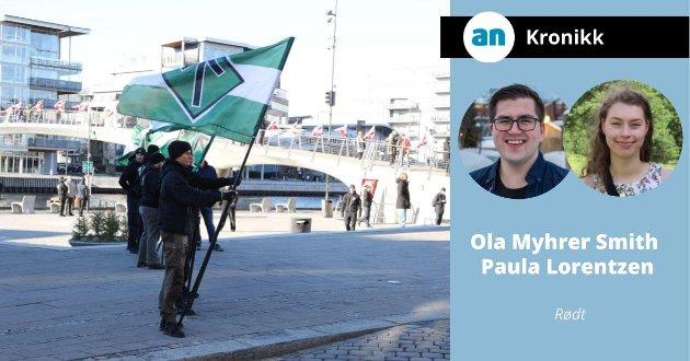 Det er noe feil når vi lar SIAN eller den Den Nordiske Motstandsbevegelsen roper ut hat for full hals i det offentlige rom, mens de blir beskyttet av horder av politi. Bildet er fra Fredrikstad.