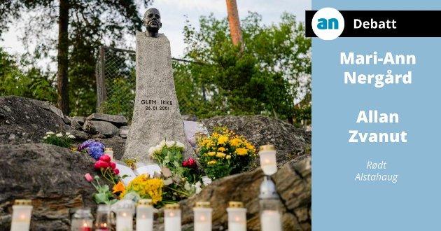 Tirsdag ble bysten av Benjamin Hermansen tagget ned med rasistisk budskap. Befolkningen på Holmlia svarte med blomster og levende lys.