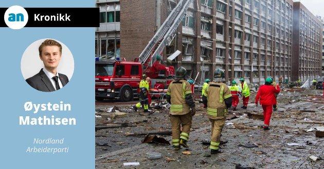 De første kaotiske timene etter bomben i  Regjeringskvartalet, der åtte mennesker mistet livet.