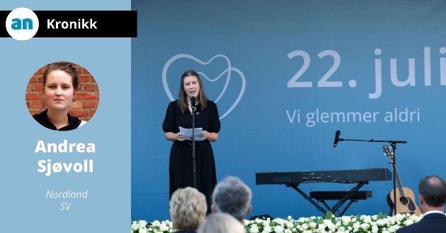 På AUFs oppfordring var vi med å ta Utøya tilbake, slik at nye minner kan skapes og fremtidens politikk utformes. AUF-leder Astrid Hoem taler under en av minnemarkeringene.