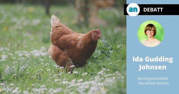 Frittgående dyr og fjærkre har det bra, og kan merkes med hjerte.