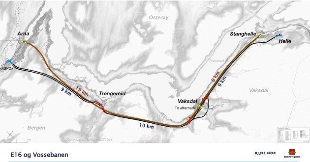 Arbeidet med jernbane og ny E16 starter med en kilometers avstand i Arna. Deretter er det stort sett tunnel til Stanghelle. ILLUSTRASJON; STATENS VEGVESEN