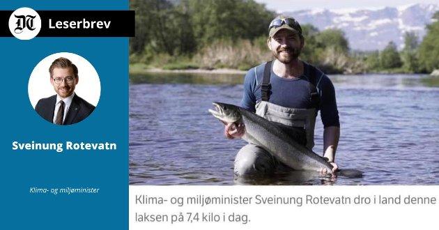 SJØLAKSEFISKE: – At eg har fiska laks i Nausta kan ikkje tas til inntekt for noko personleg synspunkt på fordelinga mellom fisket i sjø og vassdrag. Enno mindre kan det tolkast som eit uttrykk for at forvaltninga favoriserer fisket i vassdrag framfor fisket i sjø, skriver Sveinung Rotevatn i dette leserbrevet.