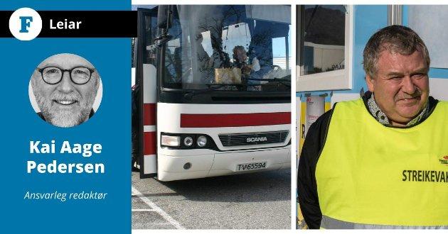 Arne Kjell Fimland (bildet)  og sjåførane i Firda Billag har streika. Sjåførane er misnøgde m.a fordi dei må ta fri over tre timar midt på dagen - utan å få betalt.