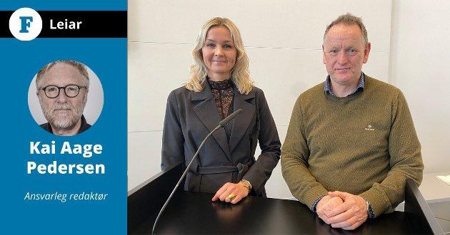 INGA RASK LØYSING: Kommunalsjef Kristine Steindal og Ole John Østenstad kunne i formannskapet torsdag ikkje love noko rask løysing på at halvparten av eit årskull i kommunen dei styrer ikkje får plass i barnehage. Det meiner  Firda-redaktøren ikkje er godt nok.