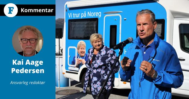 TAPAR OG VINNAR: Erna Solberg tapte valet, Olve Grotle vann. – Når røyken har lagt seg, og stemmene er talt opp, sit Grotle  alltid att som vinnar, skriv Firda-redaktør Kai Aage Pedersen.