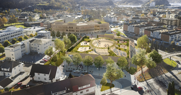 FAVORITT: Slik ønsker arkitektene hos White Arkitekter at nye Os skole og idrettshall skal se ut. Foto: White arkitekter