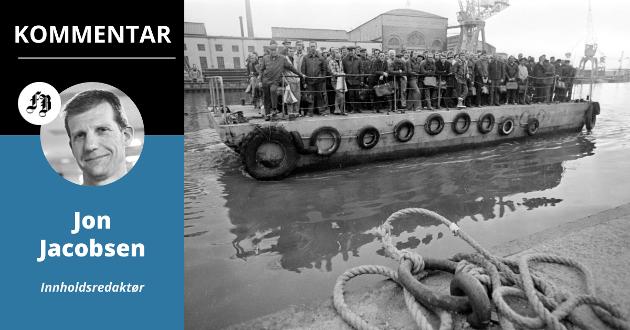 Ikonisk bilde av by- og industrihistorie: «Lørja» fraktet i mange år værste-kællær over elva, på vei til og fra jobb.