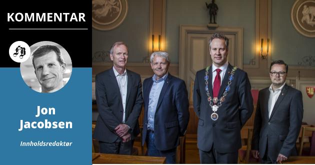 Vil Truls Velgaard (Høyre), Bjørnar Laabak (Frp), Jon-Ivar Nygård  (ordfører) og Atle Ottesen (Ap) gjøre som Sarpsborg og teste ut saksordførermodellen?