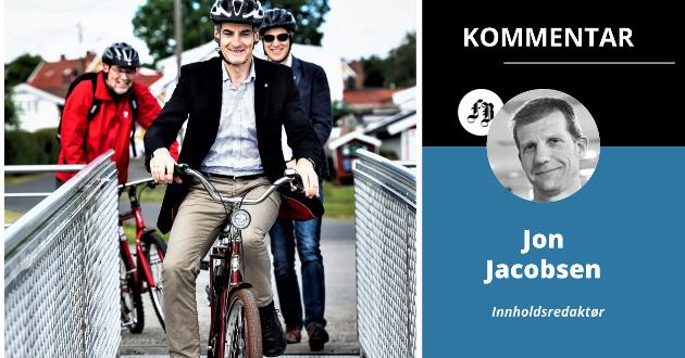 Jonas Gahr Støre og Ap har flate dekk på vei inn i valgkampen. Det er dårlig nytt også for Jon-Ivar Nygård (bak). Her på vei om bord i byfergen under  et tidligere valgkampstunt.
