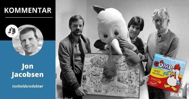 Jon Melby (i midten) lanserte planene om et Gompeland i 1985. Her sammen med styreformann Rolf Kvame fra Fredrikstad Bryggeri og Jarl Flink fra Østlandskonsult. Men Gompe-pastillene lever sitt liv den dag i dag.