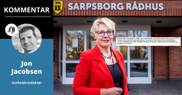 Sarpsborg sentrum sliter med å holde på kontorarbeidsplasser, og bør derfor si nei til utbygningsplaner i Fredrikstad, mener Turid Stubø Johnsen.