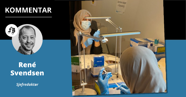 Apotektekniker Dhoba Hamid Fakhir og farmasøyt Bouchra Elyounoussi er hemmeligheten bak Sarpsborgs vaksinesuksess.