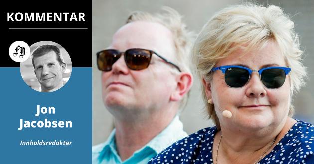 Erna Solberg og ektemannen Sindre Finnes under valgkampåpningen. Akkurat nå er ikke den politiske fremtiden spesielt lys for landets statsminister.