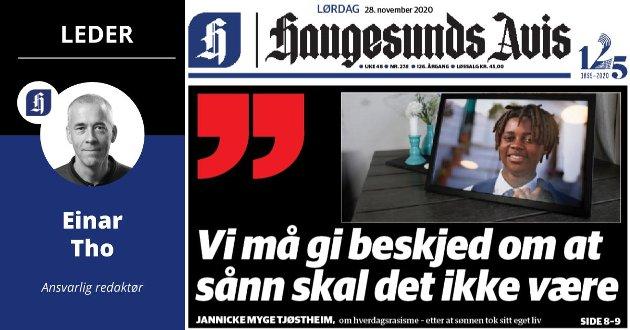 Faksimile fra Haugesunds Avis 28. november.