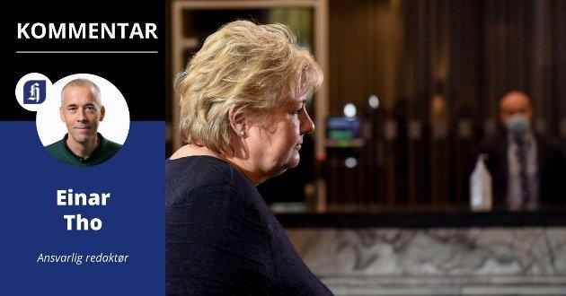 GJØR ENDRING: Statsminister Erna Solberg på onsdagens pressekonferanse om ny vaksinestrategi.