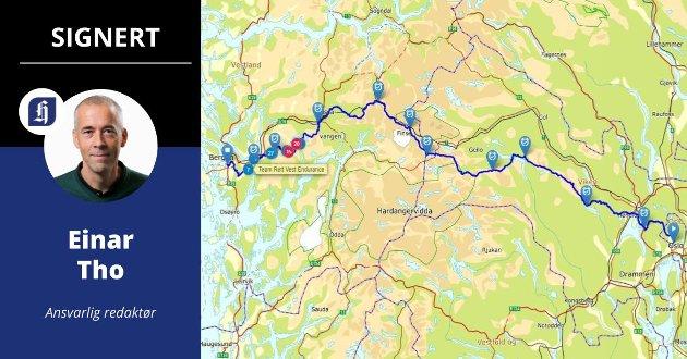 LANGT: Kartet viser løypa for ultraløpet fra Oslo til Bergen.