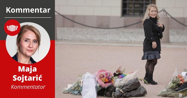 PÅ PLASS: Sandra Borch på Slottsplassen under dagens presentasjon av Norges neste regjering. Sp-politikeren fra Lavangen blir landets neste landbruks- og matminister.