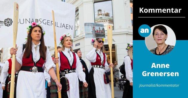 BØR PROTESTERE: – Bunadsgeriljaen har vært på barrikadene før. Nå er det nødvendig å mobilisere igjen, denne gangen på vegne av selve bunaden, skriver Anne Grenersen, kommentator i Avisa Nordland.