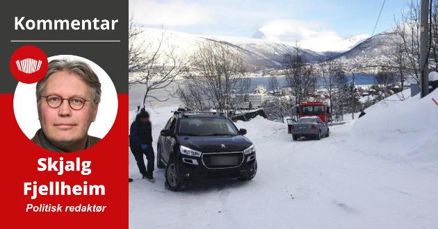 En dagligdags scene i Vinter-Tromsø. Piggdekk skaper trygghet. Med sin topografi, sine bakker og knappe svinger på smale veier som minner om hvite snøtunneller, handler det for mange om sikkerhet i forbindelse med nødvendig bilbruk.