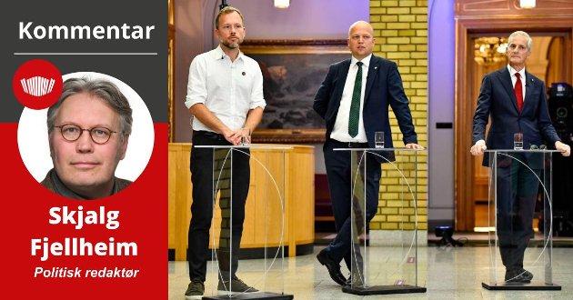 – Støre skal stå på midten i det politiske storhavet mellom Trygve Slagsvold Vedum og Audun Lysbakken. Der har det de siste årene blitt stadig større avstand mellom grunnlinjene, skriver Skjalg Fjellheim.