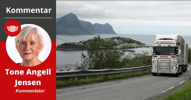 Tungtransport med fisk på vei opp den bratte og smale fylkesvei 277 fra Husøy.