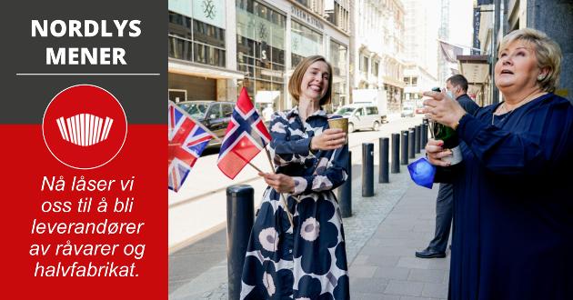 Statsminister Erna Solberg og næringsminister Iselin Nybø etter en pressekonferanse fredag om status for frihandelsforhandlingene med Storbritannia