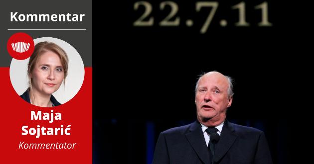 KONGELIG: Kong Harald ble symbolet på empatiens viktige rolle i demokratiet etter 22. juli 2011.