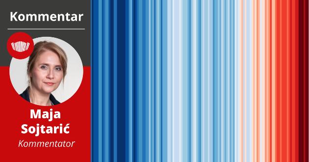 GLOBAL OPPVARMING: Kloden har blitt 1,2 grader varmere. Mesteparten av oppvarmingen har skjedd de siste 30 årene og er menneskeskapt. Denne illustrasjonen viser global oppvarming fra 1850 til i dag. Illustrasjon: Ed Hawkins